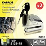 PACK OF 2 x KABRUS HIGH SECURITY ALARM DISC PADLOCKS - BIKE, MOTORBIKE, MOTORCYCLE, SCOOTERS DISC BRAKE LOCKS - HIGH SECURITY