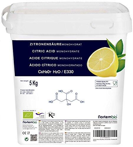 2142f168c672 NortemBio, Acide Citrique 5Kg, La Meilleure Qualité Alimentaire, 100%  Naturel, poudre granulée E330