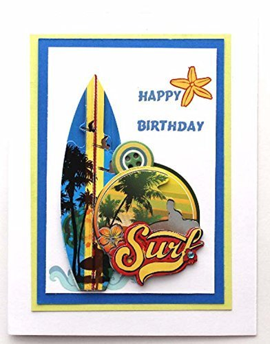 Birthday Greeting Card with Surf board