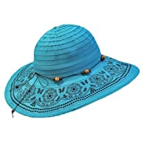 Turquoise Crushable Beach Sun Floppy Hat With Elegant Trim