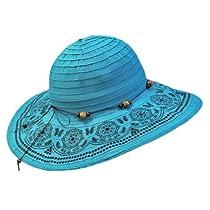 Luxury Divas Turquoise Crushable Beach Sun Floppy Hat With Elegant Trim