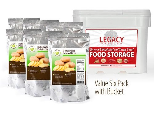 Legacy Essentials Long Term Potato Dices - 15 Year Shelf Life Dehydrated Diced Spuds for Emergency Food Storage Supply (Quantity 6 in Bucket) (Freeze Dried Hash Browns compare prices)