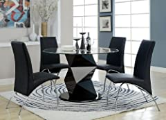 5 Pc. Halawa II collection contemporary style black finish pedestal and round glass top dining table set