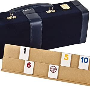 Spring Street Deluxe Designer Rummy Game Set with Wooden Racks & LARGE Standard Size Numbers