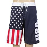 USA American Flag Mens Swim Boardshorts (Adult Medium)