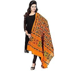 Banjara WomenS Cotton Stoles & Dupattas Kutchi Bharchak (Vip07 _Light Orange _Handicraft Dupatta_Free Size)
