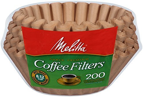 Melitta 200 ct 8-12 cup (2-PACK) coffee maker Natural brown Unbleached basket filters (Unbleached Basket Coffee Filters compare prices)
