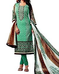 Jinaam Women's Cotton Unstitched Dress Material (jess 24_Green Brown_Free Size)