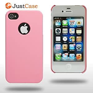 JustCase Slim iPhone 4 4S Case - Retail Packaging, 2 Screen Protectors, Matching iPad Smart Cover Color (Pink) $6.59