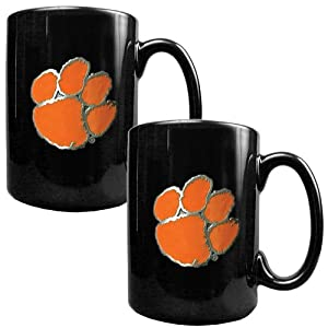 NCAA Clemson Tigers Black Ceramic Mug Set (2-Piece) by Great American Products