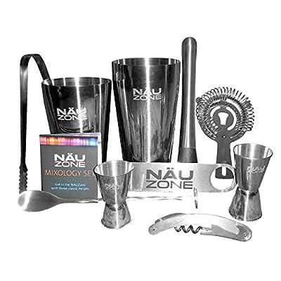 Bar Set: Premium Boston Shaker Barware Set. 10 Piece Bartender Kit Includes Bar Kit Supplies for Professional Drink Mixing. (10 Piece Bar Tool Set)