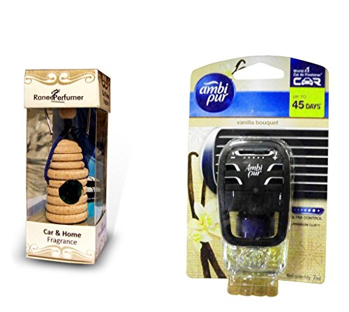 8ml Ranee Perfumer Car/Home/Office Hanging Air Diffuser Perfume - Night In paris & Ambi Pur Starter Kit 7.5 ml - Vanilla Bouquet  available at amazon for Rs.564
