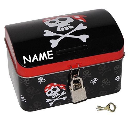 Pirat - Spardose Sparbüchse incl. Namen - Schatztruhe / Schatzkiste mit Schlüssel und Schloß - Truhe Aufbewahrung für Jungen / Piraten Schatzkarte Schatzinsel - Piratenschatz - Spardose