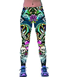 iSweven Dragon and Skull illustration Design Printed Polyester Multicolor Yoga pant Tight legging for womens girls