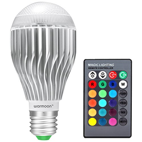 Warmoon E26 LED Light Bulb, 10W RGB Color Changing LED Lamp Dimmable with Remote Control (Led With Remote compare prices)