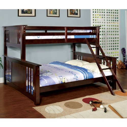 Spring Creek Dark Walnut Finish Twin & Queen Combo Size Bunk Bed front-805745