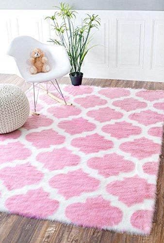 Faux Sheepskin Solid Soft and Plush Cloud Trellis Pink Kids Shag Nursery Area Rugs, 3 Feet By 5 Feet (3' X 5')
