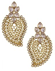 The Jewelbox Antique Traditional CZ Kundan Pearl Gold Filigree Large Earring