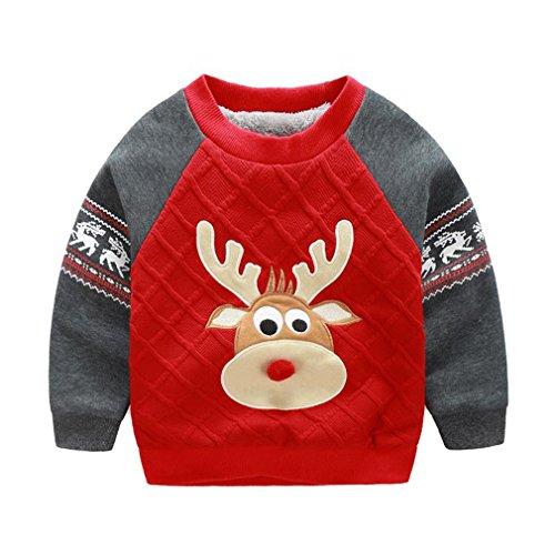 OMSLIFE Felpe per Bambini Vestiti Casuali dei Bambini Abbigliamento Prima Infanzia Vello Manica Lunga Tops (95-105cm(etichetta 100), rosso)