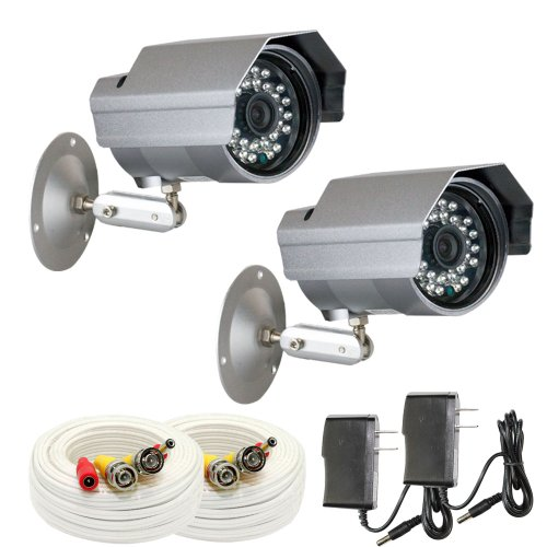 """Gw 2 X Professional 1/3"""" Panasonic Ccd Outdoor Camera With 60Ft Bnc Cable & Power Supply Pack, 3.6Mm Lens, 700 Tv Lines, 30Pcs Ir Led, 82 Feet Ir Distance. Vandal Proof & Water Proof"""