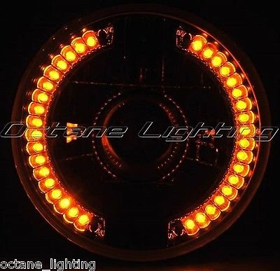 "Octane Lighting 7"" Projector Halogen Motorcycle Amber Led Halo Light Bulb Headlight For: Harley front-91533"