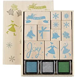 Martha Stewart Crafts Frosty Elegance Wooden Decorative Stamp Set
