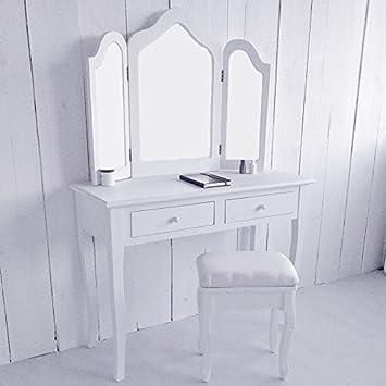lounge zone Tocador tocador Mesa para cosmética tocador Tabla de preparación Estilo rústico moderno Dormitorio Espejo adjunto con giro, girable espejo antiguo-blanco 12362
