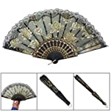 Organza Sector Plastic Ribs Dance Foldable Hand Fan Black