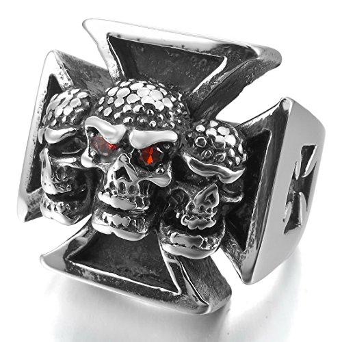 Men'S Large Heavy Stainless Steel Ring Cz Silver Black Celtic Medieval Cross Skull Shield Gothic Size7