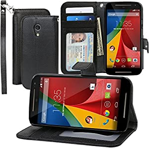 Evecase Moto G 2nd Gen Wallet Folio Leather Case with Credit Card ID Pockets and Stand for Motorola Moto G (2nd Gen./ 2014 Edition) - Black