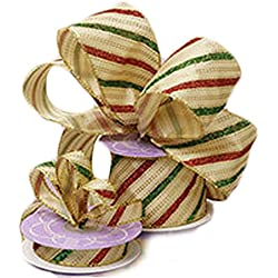 Gold Christmas Wired Ribbon with Red and Green Glitter Stripes - 10 Yards