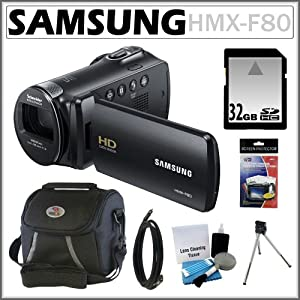 Samsung HMX-F80 HD Camcorder with 52x Optical Zoom and 2.7-inch LCD in Black + 32GB Memory Card + HDMI To Mini-HDMI 6 Foot Cable + Accessory Kit