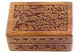 "Wooden Storage Box - Carved Flowers & Vines - 4""x 6"""