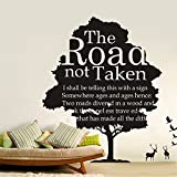 UberLyfe Pigmented Polyvinyl Decal with Famous Quote on The Road Not Taken Wall Sticker (Wall Covering Area: 130cm x 120cm)