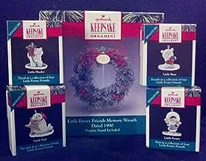 Hallmark Keepsake Little Frosty Friends Memory Wreath Dated 1990 Set of 4 Ornaments