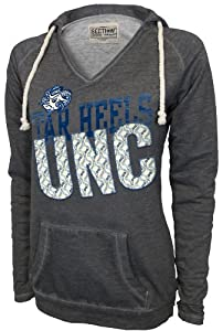 NCAA North Carolina Tar Heels Ladies Sassy V-Neck Pullover, Lt. Charcoal by SECTION 101 Majestic