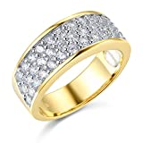 Wellingsale® Ladies Solid 14k Yellow Gold Polished CZ Cubic Zirconia Pave Wedding Band, AAA Grade Highest Quality - Size 4.5
