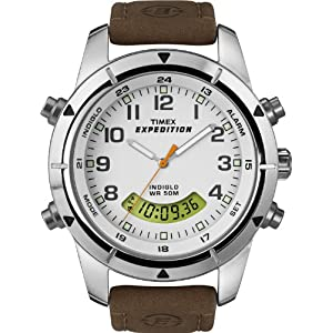 Timex Men's T49828 Expedition Rugged Chronograph Analog-Digital Brown Leather Strap Watch