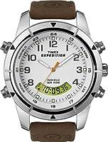 Timex - T49828D7 - Expedition Metal Combo - Montre homme - Quartz analogique et digital - Boîtier en métal - Bracelet cuir imperméabilisé