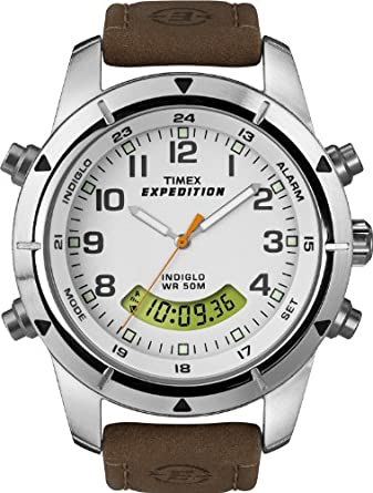 Timex Men's Expedition Chronograph T49828 Analog-Digital Brown Leather Strap Watch