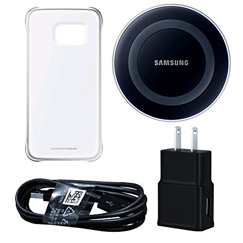 Samsung Wireless Charging Pad with Protective Cover for Galaxy S6 Edge – Retail Packaging – Black