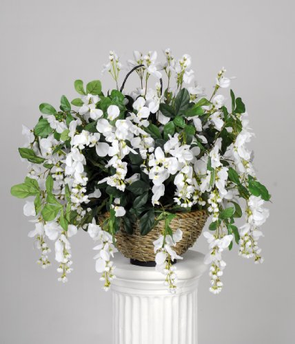 Artificial White Wisteria Hanging Basket