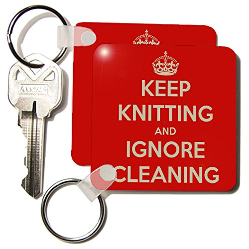 Kc_171979_1 Evadane - Funny Quotes - Keep Knitting And Ignore Cleaning. Red. Knitting Lovers. - Key Chains - Set Of 2 Key Chains