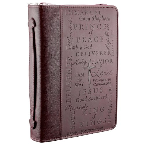 Bible Covers: Names Of Jesus Burgundy Bible Book Cover Large