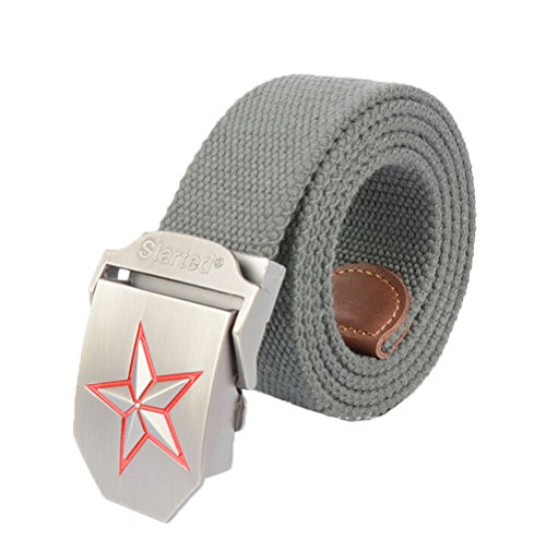 Nanxson(TM) unisex Outdoor tactics Canvas Star logo buckle Belt Leather Inlay PDM0009 (grey)