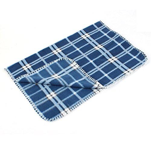 "Blue White Plaids Print Fleece 26.8"" X 19.7"" Pet Warmer Blanket Carpet front-929782"