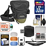 Canon Zoom Pack 1000 Digital SLR Camera Holster Case + 32GB Card + Sling Strap + Diffuser Kit For EOS 6D 70D 7D...