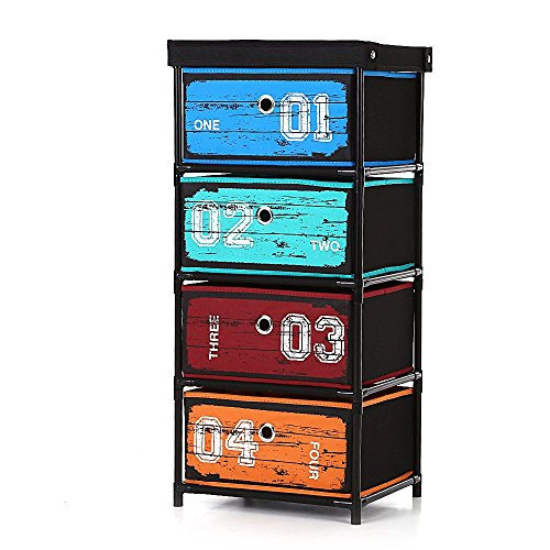 IKAYAA Fabric Home Office Storage Cabinet Organizer with 4 Drawer (Fabric Craft Organizer compare prices)