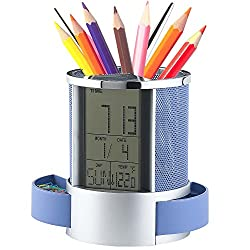 Geekdigg Multifunctional Pen Holder Pencil Container Digital LED Desk Clock Mesh with Calendar Timer Alarm Clock Thermometer 2 Small Drawer (Blue)