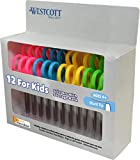 "Westcott 5"" School Pack of Kids Scissors with Anti-Microbial Protection, Blunt, Assorted Colors (Pack of 12)"